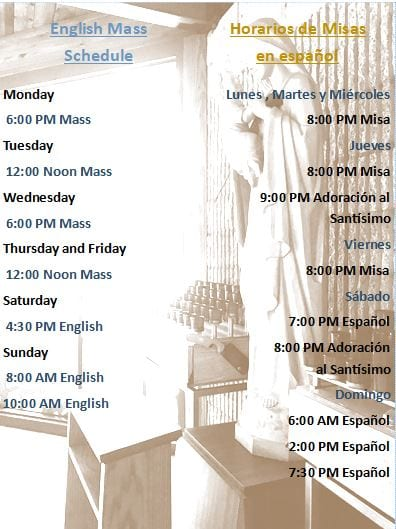 Temporary Mass Schedule / Horario Temporal de Misas